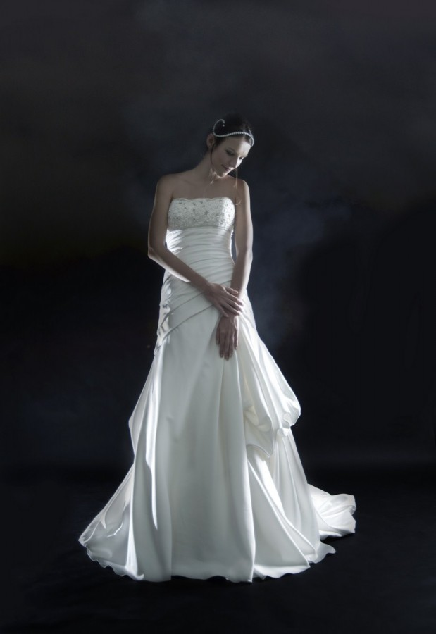 Strapless satin drop waist wedding gown