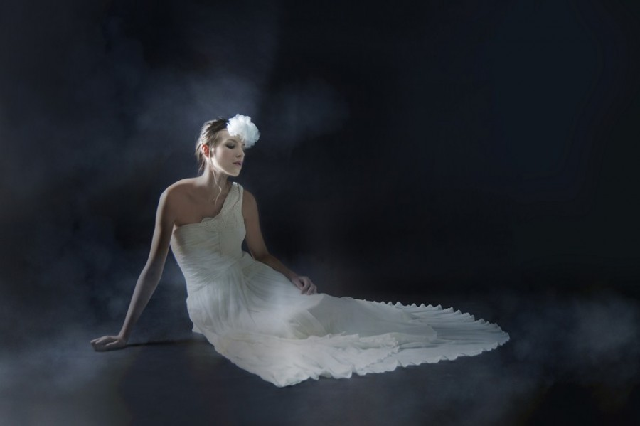 One shoulder flowing wedding dress