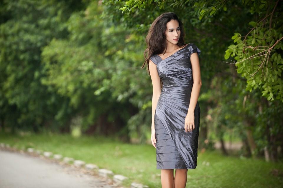 Taffeta pleat wrap mother of bride dress