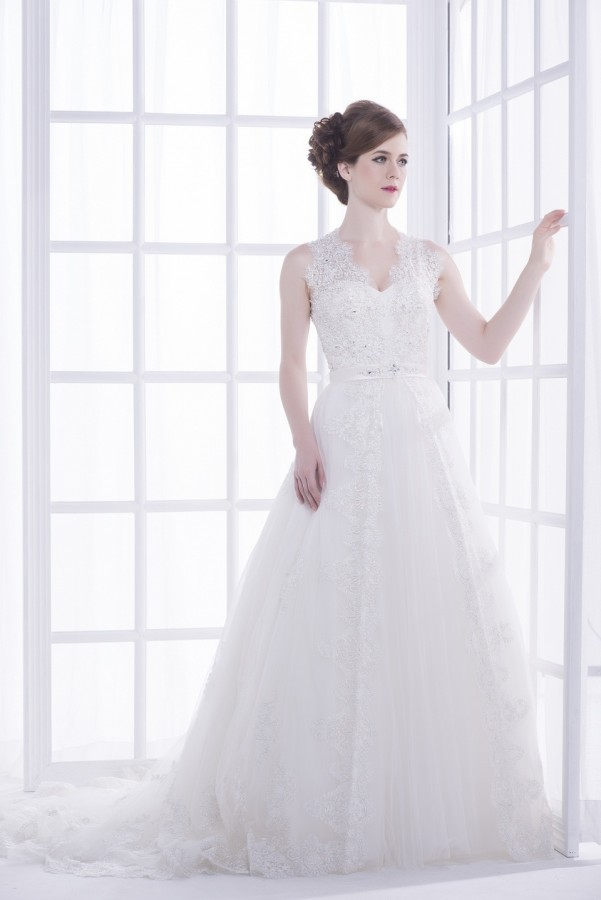 Classic metallic lace wedding gown