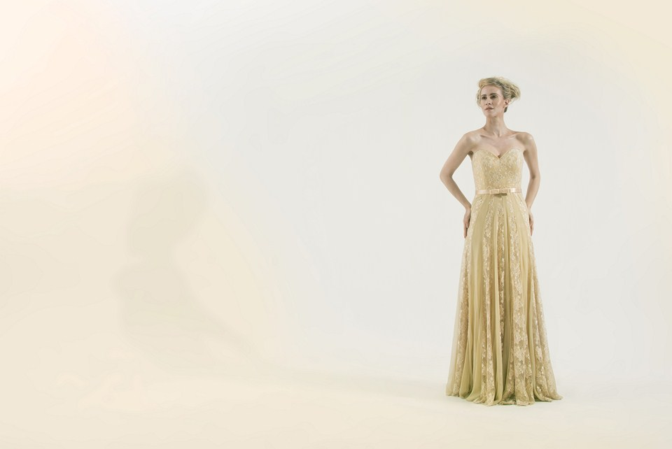 Exquisite gold lace evening dress