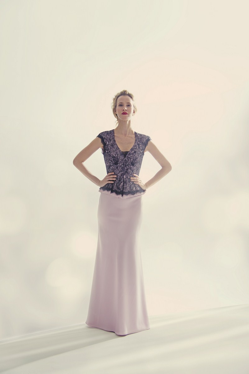 Peplum waist evening gown