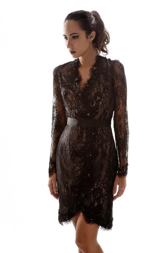 Long sleeve lace cocktail dress/ Little black dress