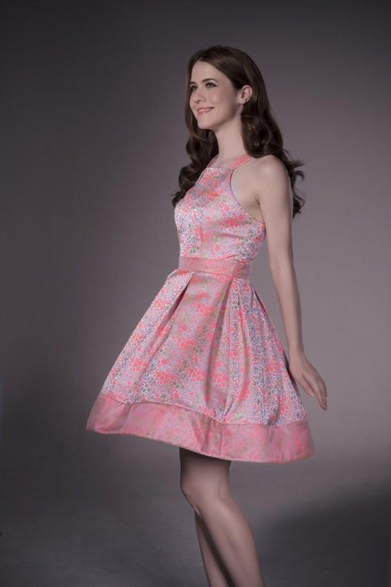 Premium fare dress in floral jacquard