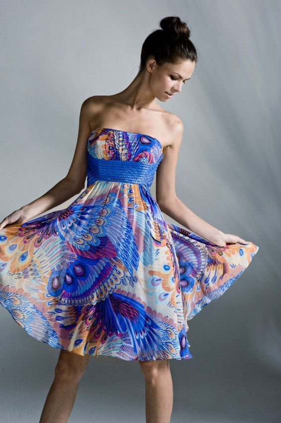 Silk print party dress