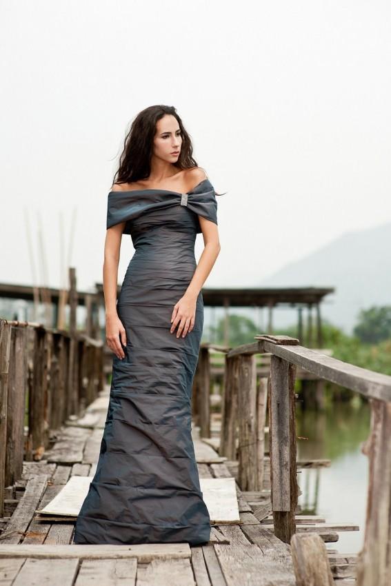 Elegant off shoulder occasion dress