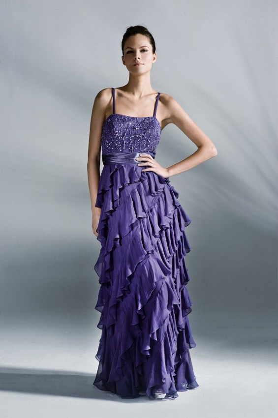 Strappy floor-length beaded evening gown