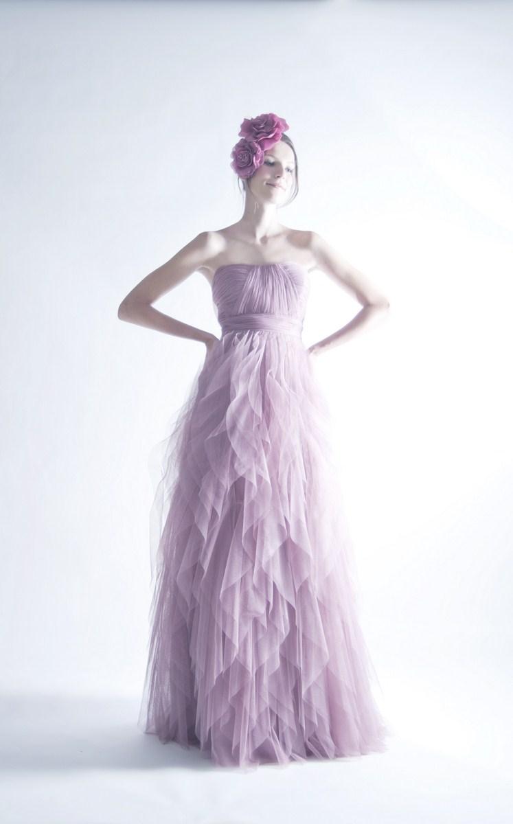 Elegant waves ruffled evening dress