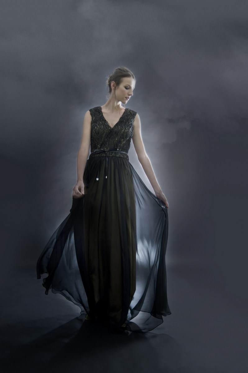 V-neck metallic lace evening dress