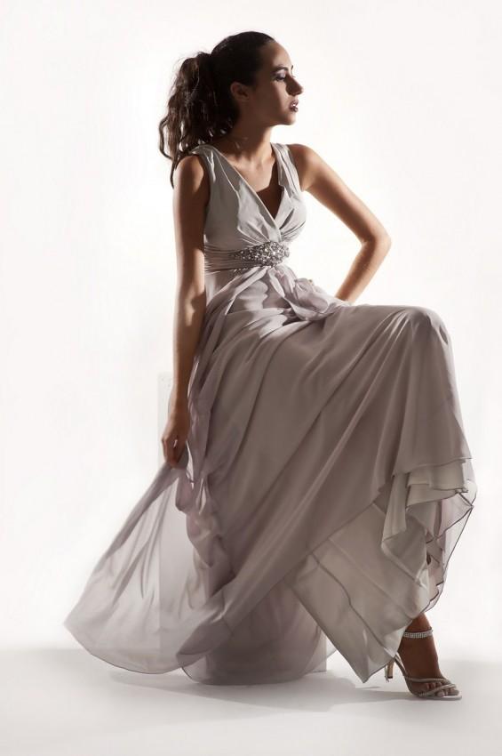 Sheer overlay eveing dress
