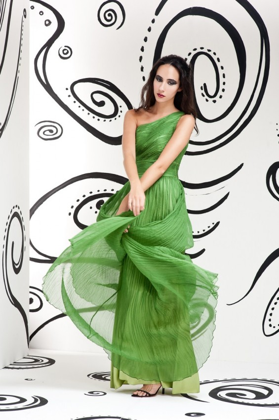 Sheer overlay evening dress
