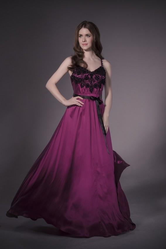 Contrast underlay silk evening dress
