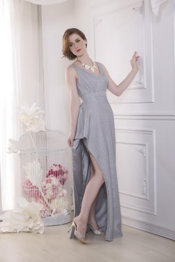 Jacquard asymmetric evening dress