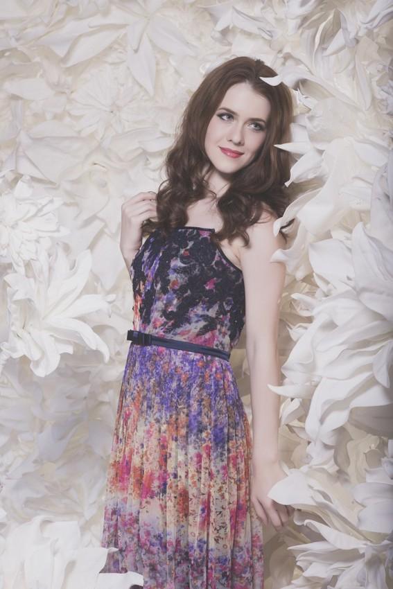 Flora print evening dress
