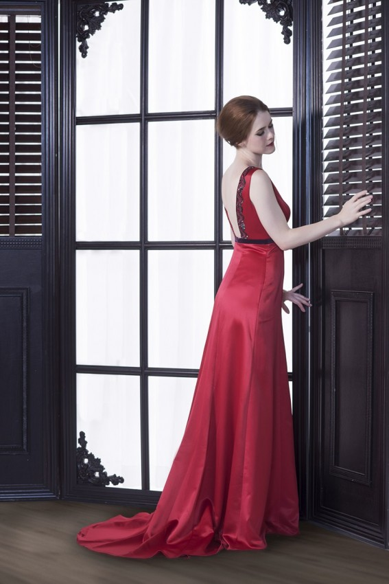 Beaded red evening gown