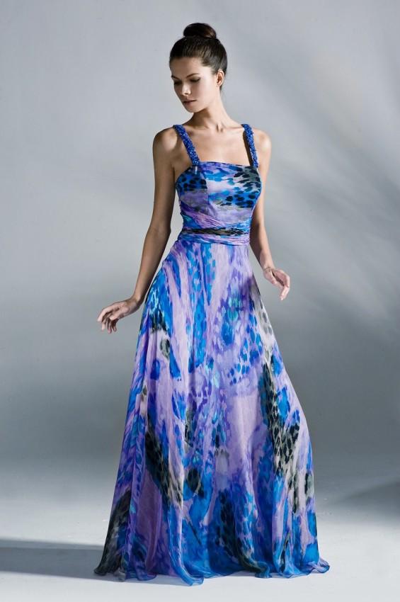 Silk print occasion dress