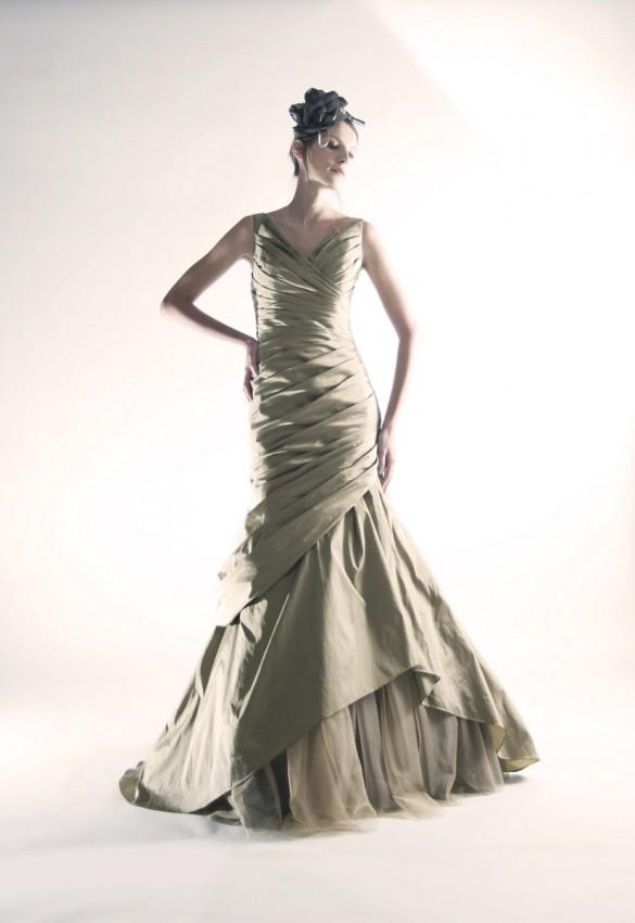Refined pleated mermaid evening dress