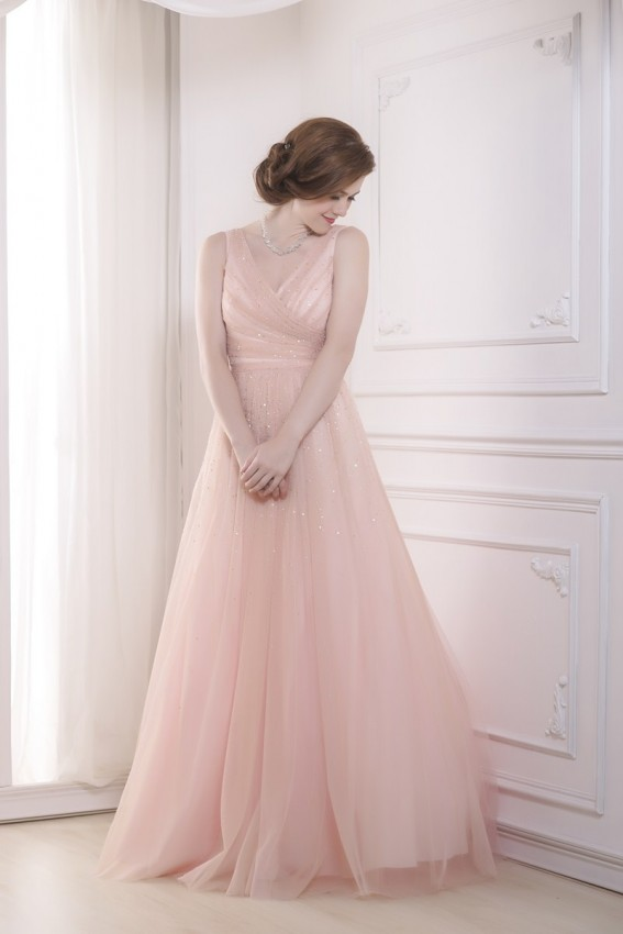 Hand beaded tulle evening dress