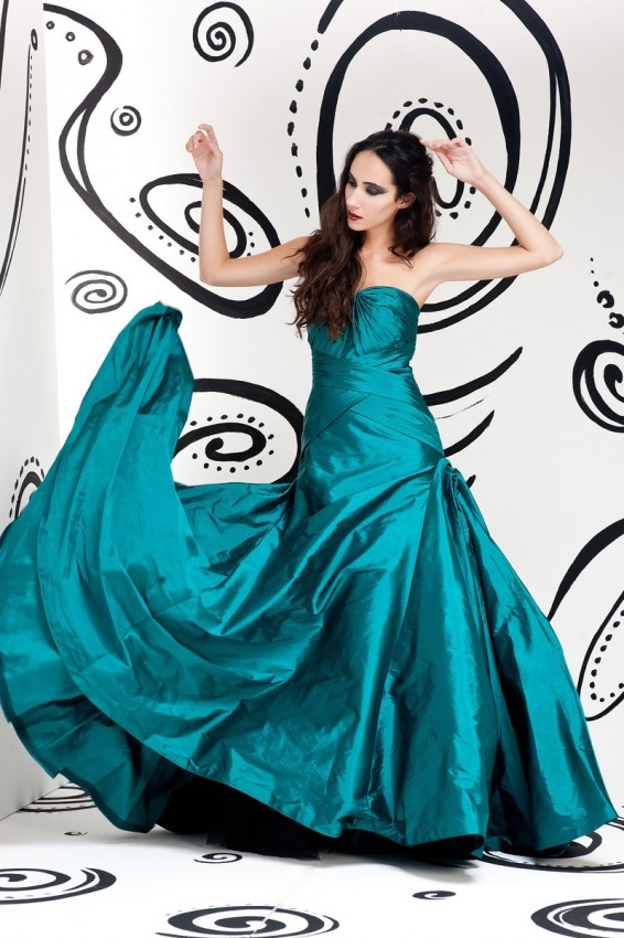 Metallic color ball gown
