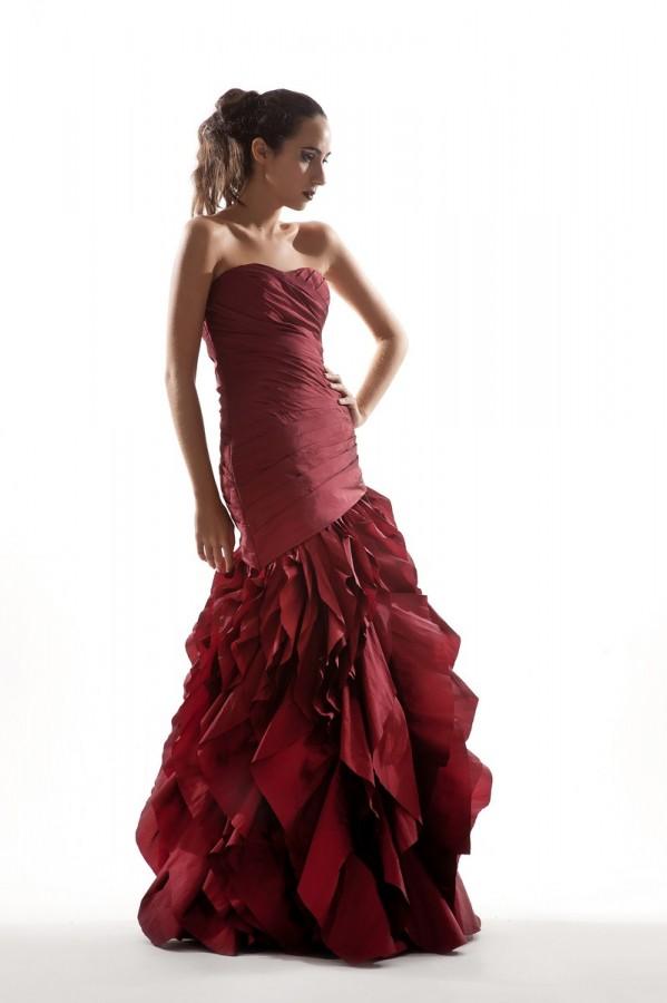 Ruffled mermaid evening dress