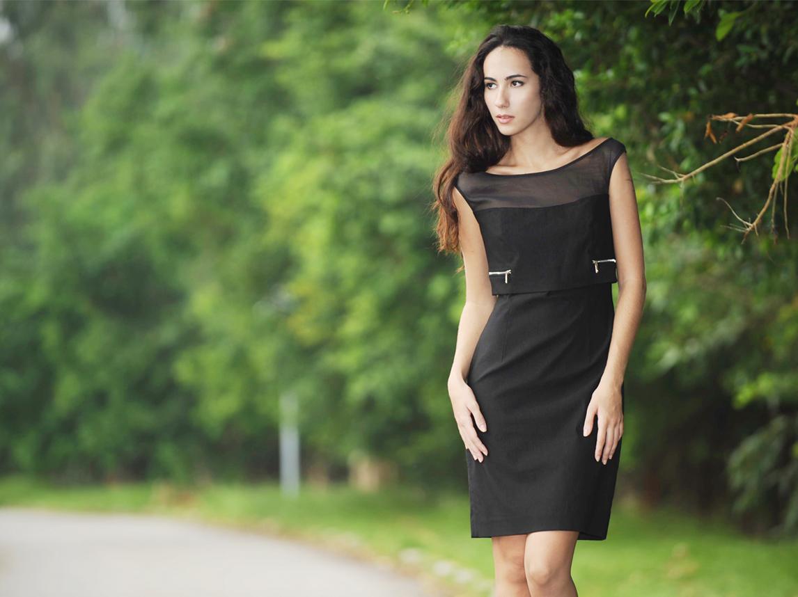 Silk organza illusion neckline contemporary dress