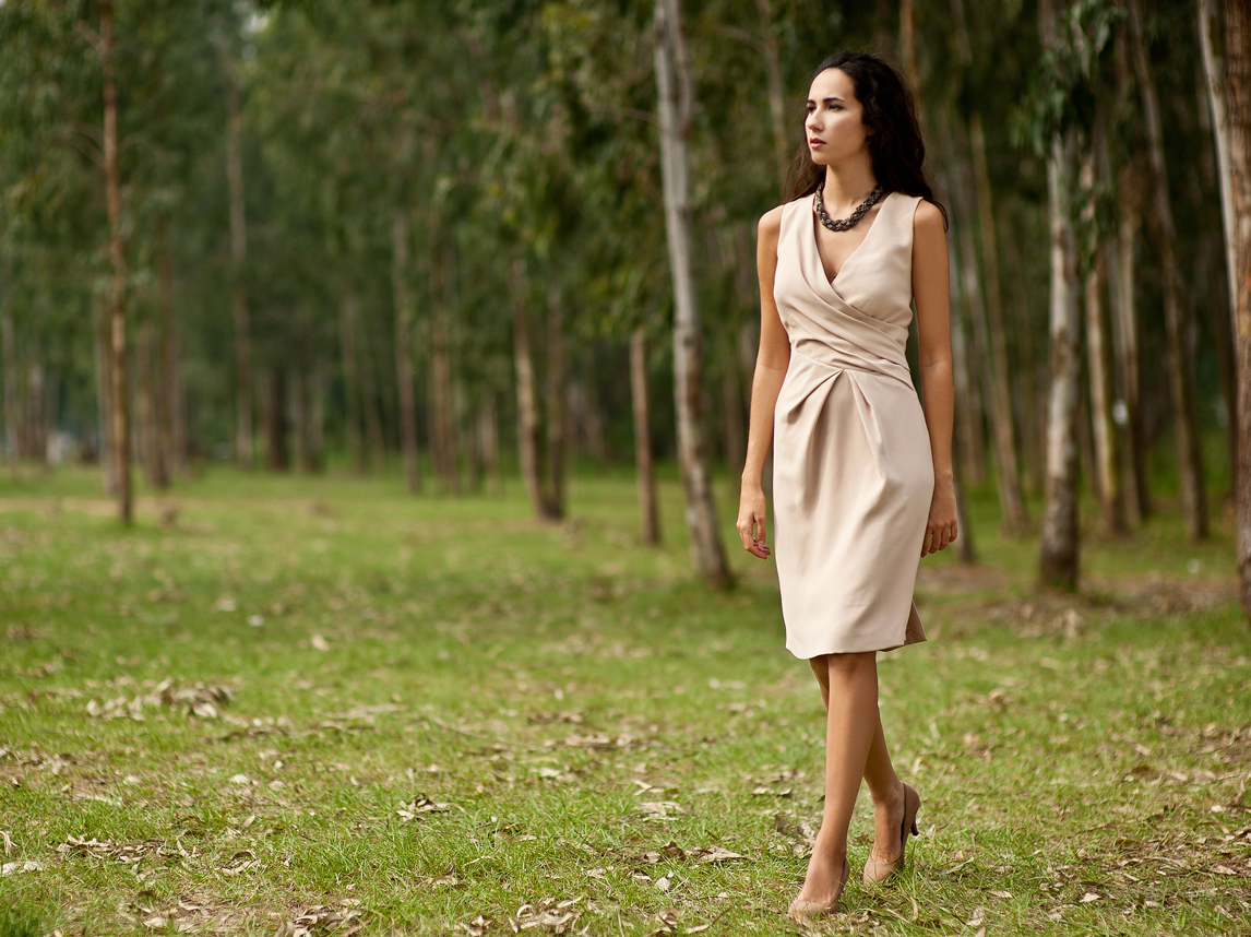 Wrapped style day wear short dress